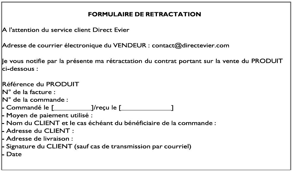 Formulaire de rétractation DE